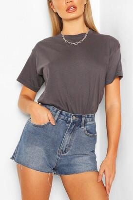 boohoo Vintage Wash Raw Hem Denim Shorts