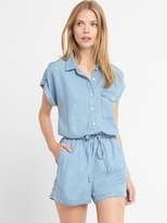 TENCEL denim roll-sleeve romper