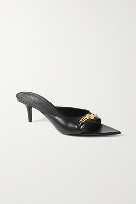 Versace Embellished Leather Mules - Black