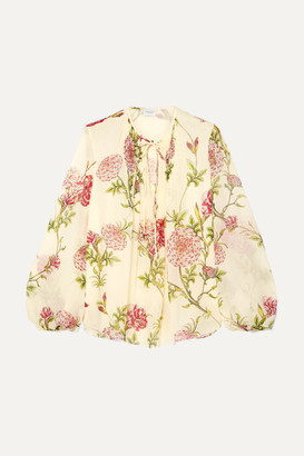 Giambattista Valli Floral-print Silk-chiffon Blouse - Ivory