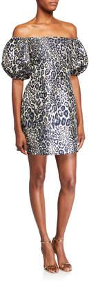 Aidan Mattox Metallic Leopard Jacquard Off-the-Shoulder Puff-Sleeve Mini Dress