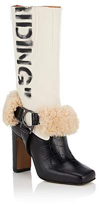 Off-White Women's Harness-Strap Leather & Canvas Riding Boots - Black