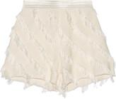 Sandro Pandora frayed silk-trimmed twill shorts