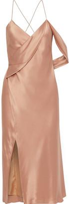Mason by Michelle Mason Open-back Draped Silk-charmeuse Midi Wrap Dress