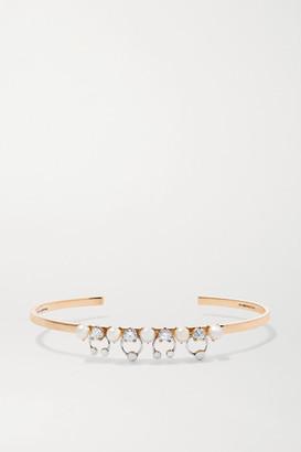Delfina Delettrez 18-karat Yellow And White Gold, Pearl And Diamond Cuff