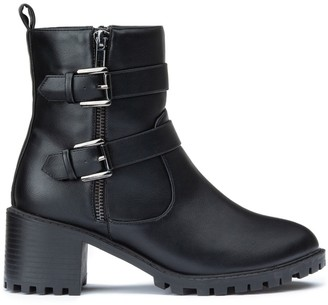 La Redoute Collections Chunky Heeled Biker Boots with Buckles and Straps