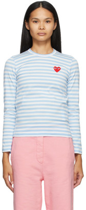 Comme des Garcons Blue and White Striped Heart Patch Long Sleeve T-Shirt