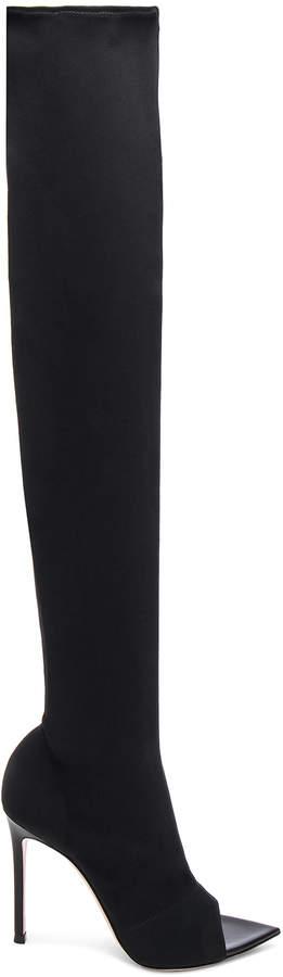 Gianvito Rossi Gotham Cuissard Peep Toe Thigh High Boots in Black & Black | FWRD