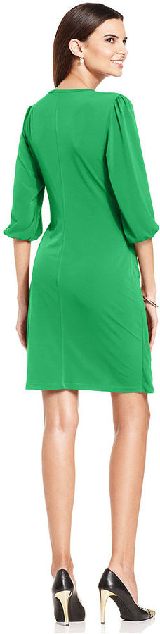 Amy Byer Petite Dress, Three-Quarter-Sleeve Faux-Wrap