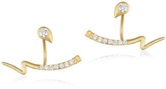 N. Brushstroke Diamond & 18K Yellow Gold 53 Stud & Ear Jacket Set