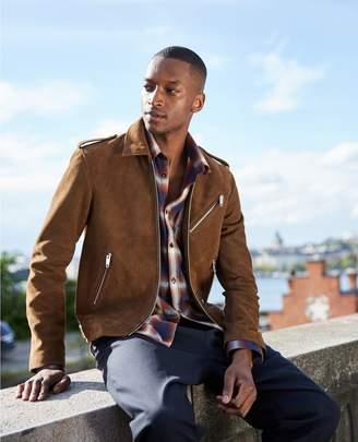 The Kooples Biker-style camel-coloured leather jacket
