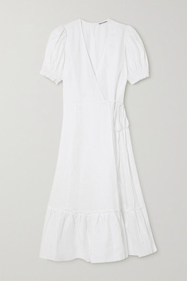 Reformation Veronika Linen Wrap Dress - White