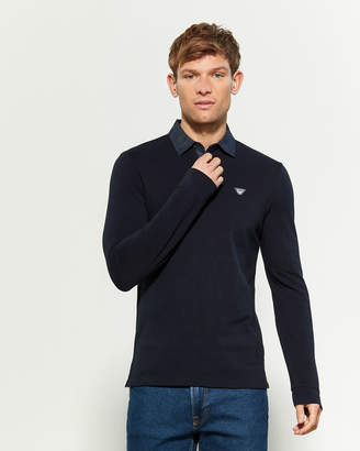 Armani Jeans Denim Collar Long Sleeve Polo