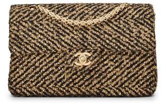 Chanel Black & Metallic Tweed Half Flap Medium