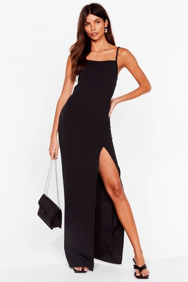 Nasty Gal Womens It's a Long Story Slit Maxi Dress - Black