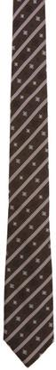 Fendi Brown Stripe Karligraphy Tie