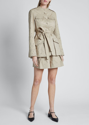 Erdem Eyelet-Embroidered Trench Style Jacket