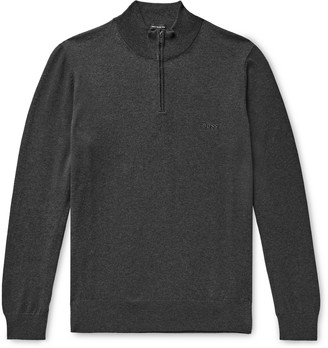 HUGO BOSS Slim-Fit Cotton Half-Zip Sweater