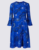 Limited Edition Printed Tie Side Flared Sleeve Midi Dress