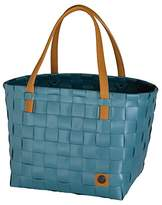 "Handed By Tote Bag by Unek Goods | Recycled & Reusable | Woven & Handmade | Blue, Color Block Style | 12"" x 9.5"" x 10.5"""