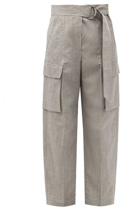Brunello Cucinelli Belted Cropped Wool-blend Trousers - Mid Grey