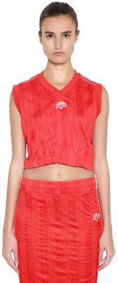 adidas By Alexander Wang Aw Wrinkled Logo Jacquard Cropped Top