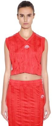Adidas Originals By Alexander Wang Aw Wrinkled Logo Jacquard Cropped Top