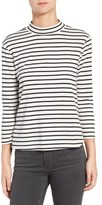 Cupcakes And Cashmere Cory Mock Neck Stripe Tee