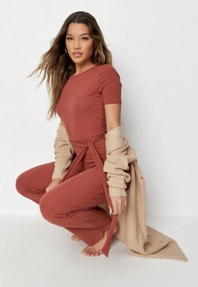 Missguided Pink Rib Belted Flared Romper