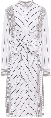 Diane von Furstenberg Belted Striped Poplin Dress