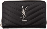 Saint Laurent Black Small Monogram Zip Around Wallet