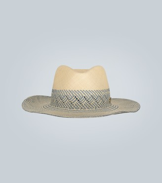 Borsalino Patterned straw Panama hat