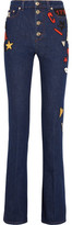 Sonia Rykiel Embroidered High-Rise Flared Jeans