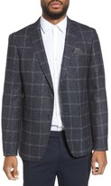 Sand Men's Trim Fit Windowpane Wool Blend Sport Coat