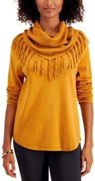 Style&Co. Style & Co Petite Cotton Fringed Cowlneck Sweater, Created for Macy's