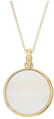 Lauren Ralph Lauren 36 Logo Pendant Necklace (White) Necklace