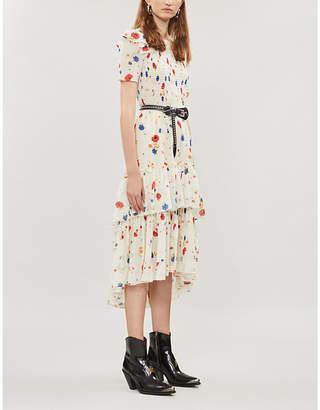 The Kooples Ruffle-tiered floral silk-devoré dress