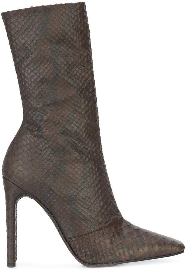 Yeezy snake effect calf boots