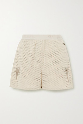 Rick Owens Champion Dolphin Embroidered Mesh Shorts - Cream