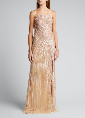 Pamella Roland Sequin Embroidered Strapless Gown