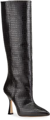 Stuart Weitzman Parton Mock-Croc Knee Boots