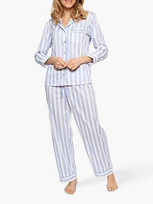 Cyberjammies Nora Rose by Thea Stripe Cotton Pyjama Set, White/Blue
