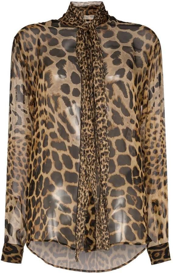 ab644b3d7fc0 Leopard Print Sheer Top - ShopStyle