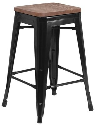 "Williston Forge Carole Solid Wood Bar & Counter Stool Seat Height: Counter Stool (24"" Seat Height), Color: Black, Pack Size: 1"