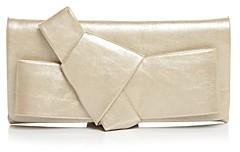 Aqua Metallic Bow Clutch Shoulder Bag - 100% Exclusive