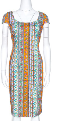 Versace Multicolor Floral Print Cotton Sheath Dress M