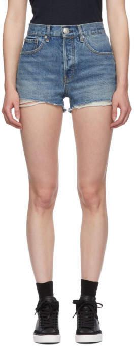Rag & Bone Blue Denim Maya High-Rise Shorts