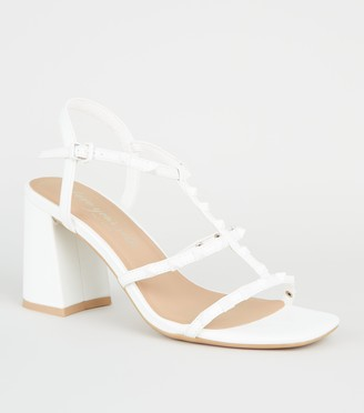 New Look Leather-Look Stud Strap Block Heels