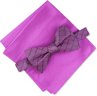 Alfani Men Grid Pre-Tied Bow Tie & Solid Pocket Square Set