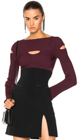 Cushnie et Ochs Long Sleeved Boat Neck Top in Burgundy.